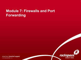 07-WAS Firewalls and Port Forwarding