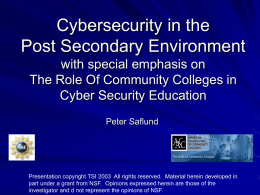 PowerPoint Presentation - Cybersecurity in the Community