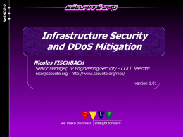 Infrastructure Security and DDoS Mitigation SwiNOG-7