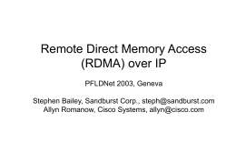 Why DDP & RDMA In IETF?