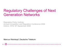 Regulation of new and emerging services?
