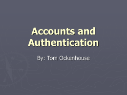 Accounts and Authentication
