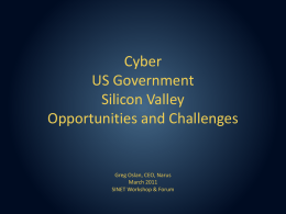 Cyber US Government Silicon Valley Opportunites and Challenges
