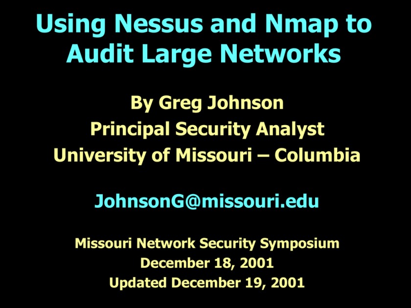 Using Nessus and Nmap to Audit Large Networks | studyslide com