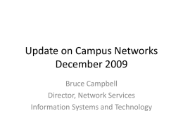 Update on Campus Networks December 2009