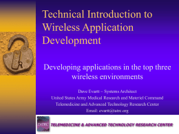 Technical Introduction to Wireless Application Development
