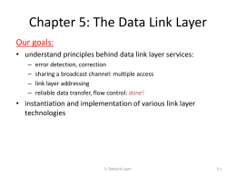 Chapter 5: The Data Link Layer - Southern Adventist University