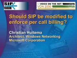 Should SIP be modified for per call billing?