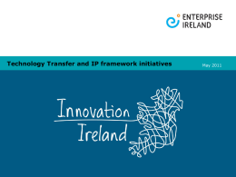 Technology Transfer and IP framework initiatives