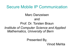 Secure Mobile IP Communication - Department of Computer Science