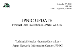 Personal Data Protection in JPNIC WHOIS