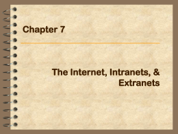 Chapter 7: The Internet, Intranets, & Extranets