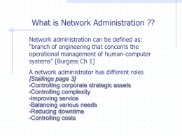 Week 1 Network Administration and Management