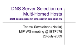 DNS Server Selection on Multi-Homed Hosts