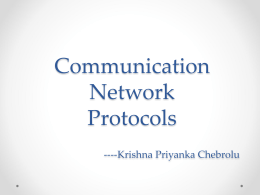 Communication Network Protocols ---