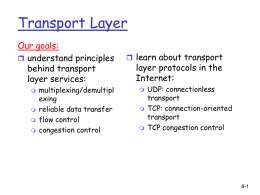 Week 8 Transport Layer Protocols