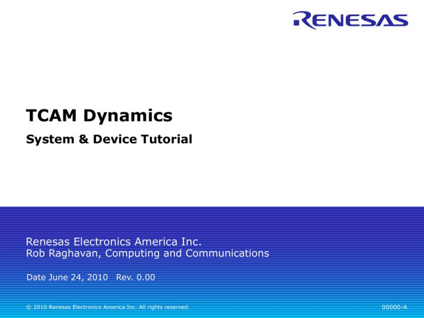 TCAM - Renesas e-Learning | studyslide com