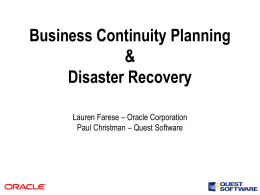 Business Continuity Planning & Disaster Recovery