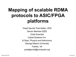 Mapping of scalable RDMA protocols to ASIC/FPGA