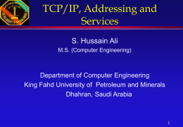 TCP/IP Concepts, Addressing and Services