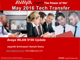 Avaya WLAN 9100 Solution