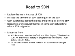 SDN evolution - FSU Computer Science