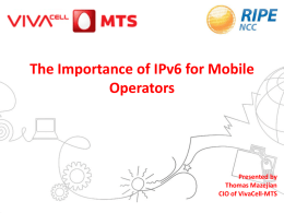 The Importance of IPv6 for mobile operators