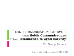 Mobile Communications - University of Greenwich