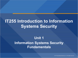IT255 Introduction to Information Systems Security Unit 1