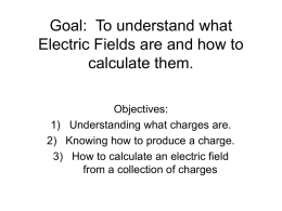 Goal: To understand what Electric Fields are