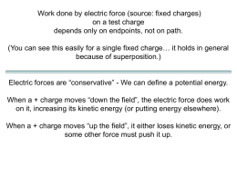 Work done by electric force (source: fixed charges) on a test charge