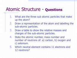 A-Level Chemistry (A1) ATOMIC STRUCTURE
