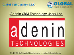 Adenin CRM Technology Users List