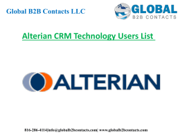 Alterian CRM Technology Users List