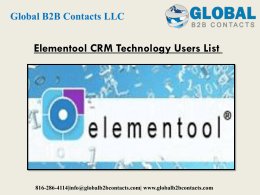 Elementool CRM Technology Users List