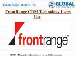 FrontRange CRM Technology Users List