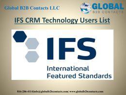 IFS CRM Technology Users List