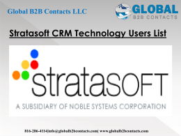 Stratasoft CRM Technology Users List