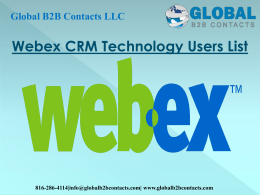 Webex CRM Technology Users Email List