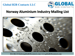 Norway Aluminium Industry Mailing List