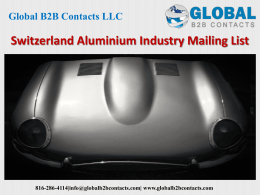 Switzerland Aluminium Industry Mailing List