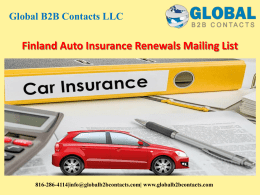 Finland Auto Insurance Renewals Mailing List