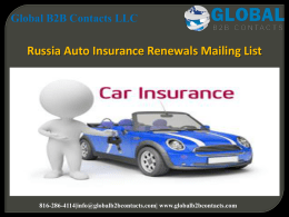 Russia Auto Insurance Renewals Mailing List
