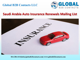 Saudi Arabia Auto Insurance Renewals Mailing List