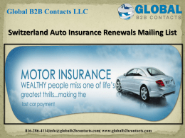 Switzerland Auto Insurance Renewals Mailing List