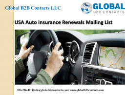 USA Auto Insurance Renewals Mailing List