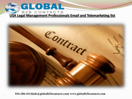 USA Legal Management Professionals Email and Telemarketing list