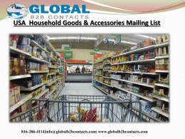 USA  Household Goods & Accessories Mailing List