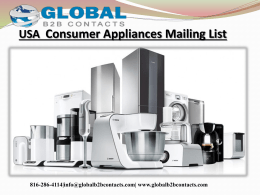 USA  Consumer Appliances Mailing List