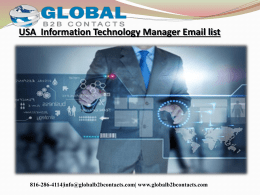 USA  Information Technology Manager Email list